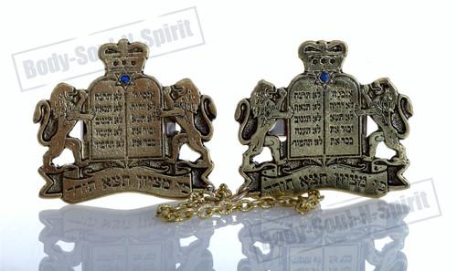 """GOLD PLATED Tallit Clip Israel """"Torah Crown"""" Prayer Shawl Jewelry Jewish Gift"""