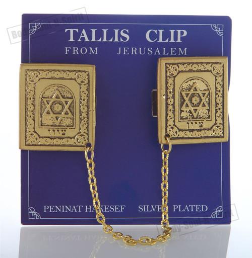 "GOLD PLATED Tallit Clip Israel ""ZION"" Prayer Shawl Jewelry Jewish Kabbalah Gift"