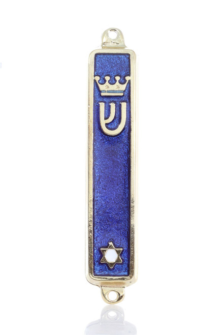 Gold plated Mezuzah Mezuza Blue Case 7cm Judaica Jewish Crown Star of David