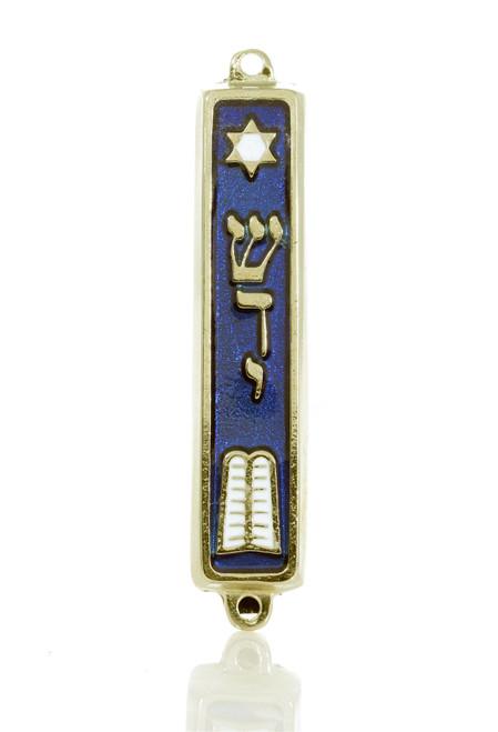 Gold plated Mezuzah Mezuza Blue Case 7cm Judaica Jewish Turah Shaddi  Israel