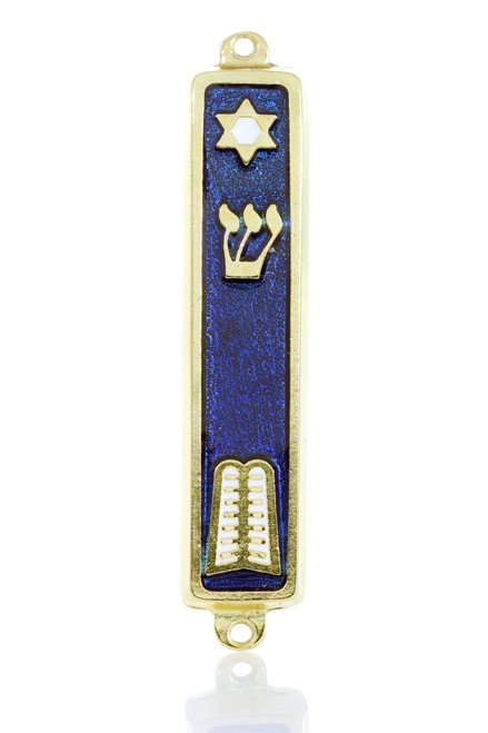 Gold plated Mezuzah Blue Case 7cm Judaica Jewish Shaddi Star of David Israel
