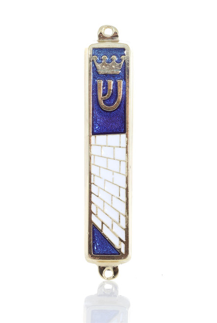 Gold plated Mezuzah Mezuza Blue Case 7cm Judaica Jewish Torah Crown Kotel Design