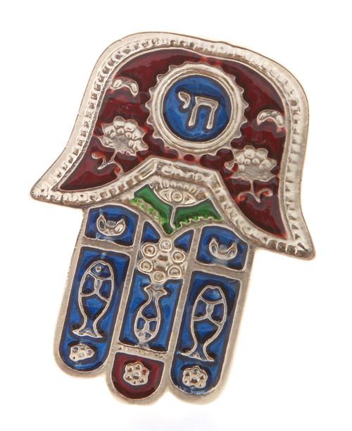 Hamsa Red CHAI Hebrew MAGNET Israel Kabbalah Judaica Evil Eye Lucky Charm