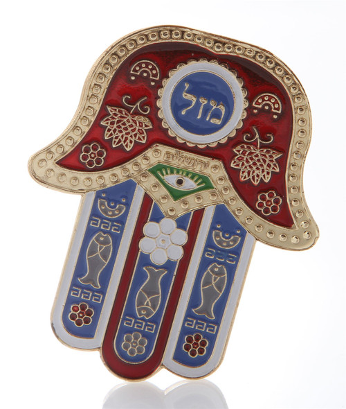 Hamsa Red MAZAL Hebrew MAGNET Israel Kabbalah Judaica Evil Eye Lucky Charm