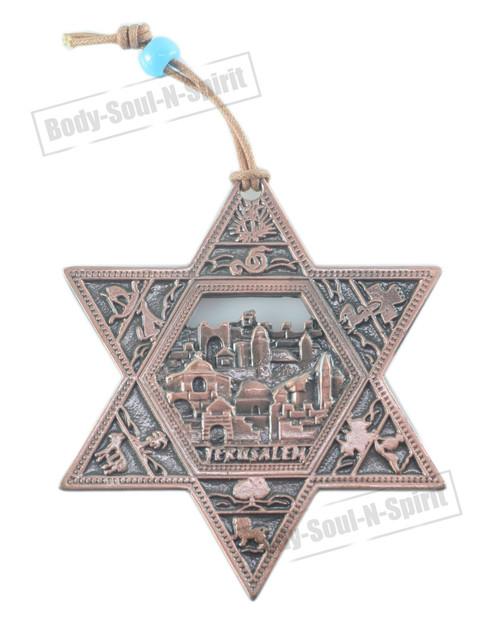 JERUSALEM STAR OF DAVID Lucky Hamsa Copper plated Judaica Wall Hanging Gift