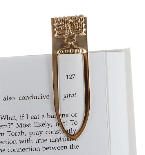 Gold Plated Jewish Menora Israel Bookmark Judaica Amulet Charm Gift