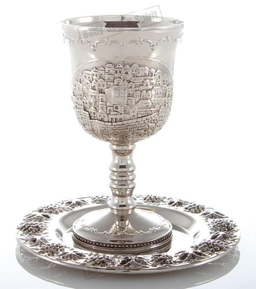 Shabbat JERUSALEM Nickel Wine Kiddush Cup Goblet Israel Judaica Holiday