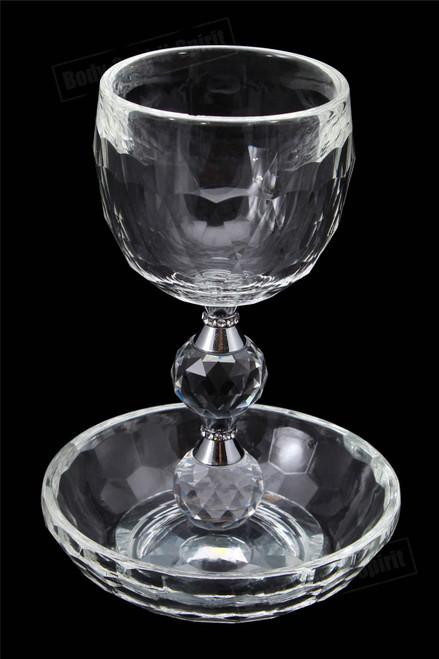 Crystal SHABBAT HOLIDAY Wine Kiddush Cup Goblet Israel Holy Jewish Judaica