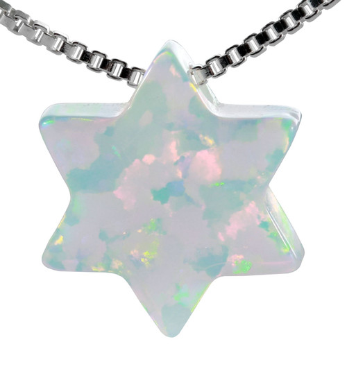925 Sterling Silver White OPAL Star of David Pendant necklace soul Judaica Gift