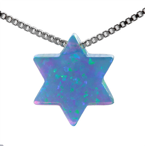 925 Sterling Silver Sky OPAL Star of David Classic Look Pendant necklace BBFgift