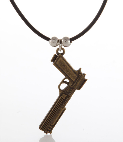 Bronze Plated Pistol Necklace IDF Israel Souvenir Guns Military Zionism Rifle
