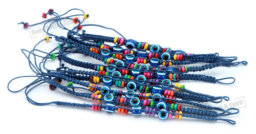 Lot Evil Eye Blue String Ethnic Bracelets Lucky Eye Charm Bead success Bracelet