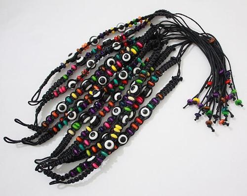 Lot Evil Eye Black String Ethnic Bracelets Lucky Eye Charm Bead success Bracelet