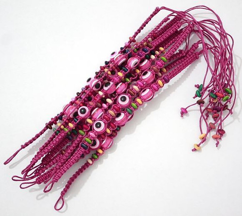Evil Eye Magenta String Ethnic Bracelets Lucky Eye Charm Bead success Bracelet