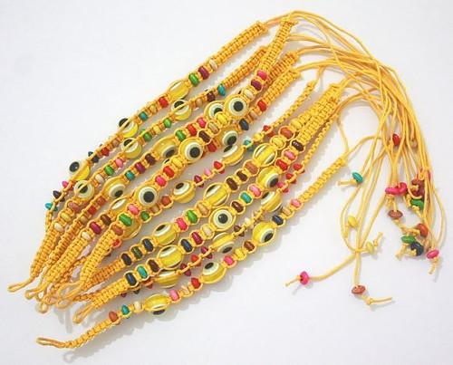 Evil Eye Yellow String Ethnic Bracelets Lucky Eye Charm Bead success Bracelet