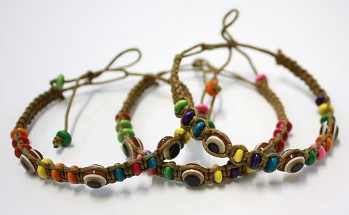Lot Evil Eye Brown String Ethnic Bracelets Lucky Eye Charm Bead success Bracelet