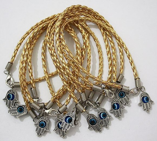 Lot Hamsa Hand String Gold Evil Eye Lucky Spiritual Bracelets Success Protection
