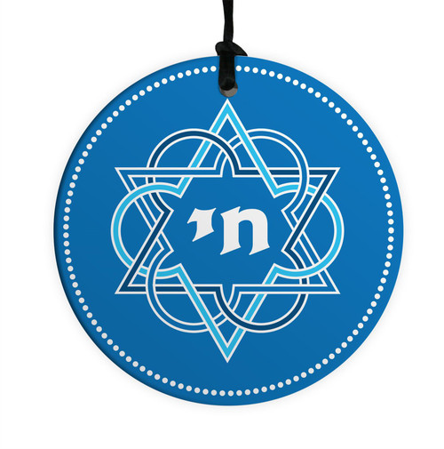 Blue Lucky Star David & Chai 10CM Ceramic Wall Hanging Kaballah judaica Jewish