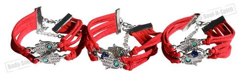 3 Red Lucky Success spiritual EYE STRING Bracelet Kabbalah protection Hamsa