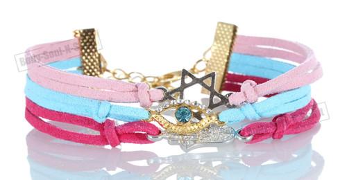 BUY Magenta-Sky-Pink 3 STRING Bracelet Kabbalah Mix pendent Hamsa Lucky Charm