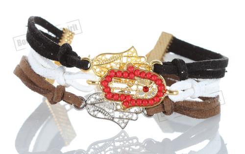 Black-White-Brown 3 STRING Bracelet Kabbalah Mix pendent Hamsa Lucky Charm
