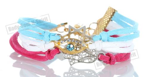 BUY Sky-White-Magenta 3 STRING Bracelet Kabbalah Mix pendent Hamsa Lucky Charm