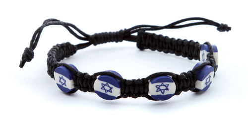 Black Braided Bracelet Lucky Charm Jewelry Star of David Israel flag pendant