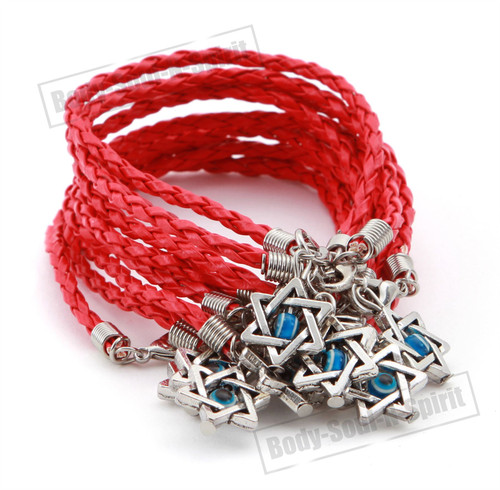 LOT - 10 RED STRING Israel Star of David Jewish Judaica LUCKY EYE Cuff Bracelets