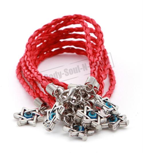 7 Holy Red String Lucky Charm Bracelet Star of David Pendant soul Jewish Jewelry