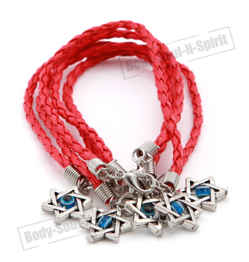 5 Holy Red String Lucky Charm Bracelet Star David Pendant karma Jewish Jewelry