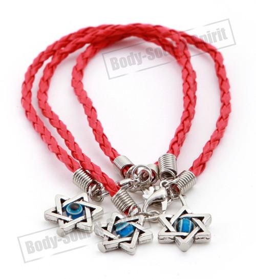 3 Holy Red String Lucky Charm Bracelet Star David Pendant soul Jewish Jewelry