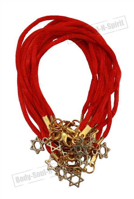 12 Jewish Lucky Charm GIFT Red String Bracelets Star of David Pendant KabbalaH