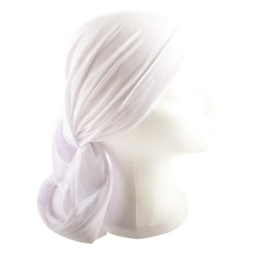 WHITE Jewish Pre-Tied women's Cloth Head inner Scarf Cover cap 200*40 cm Bandana