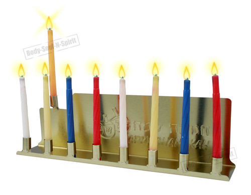 HAPPY Chanukah Menorah Jewish holy gift Tin Candlestick Kosher lighting candles