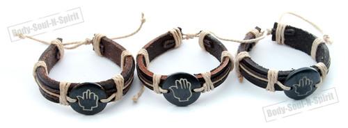 3 Tribal surfer Hamsa hand Leather Bracelet RASTA Cuff Bangle Punk karma gift