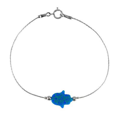 Silver 925 Blue OPAL Lucky Hamsa Hand Charm Judaica Kabbalah Evil Eye Bracelet