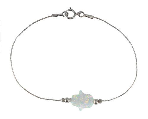 Silver 925 White OPAL Lucky Hamsa Hand Charm Judaica Kabbalah Evil Eye Bracelet