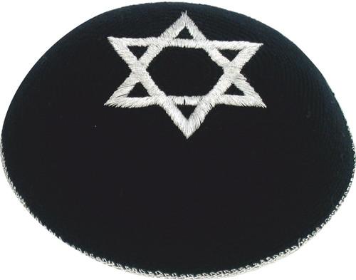 Black Star of David Holyland Knitted Kippah Yarmulke Tribal Jewish Yamaka Kippa