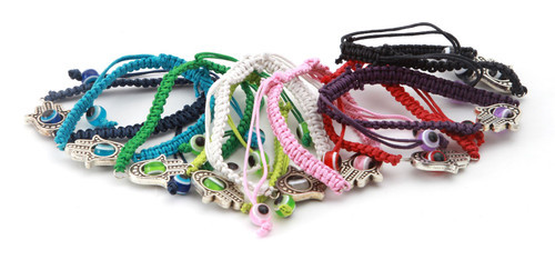 100 Sacred Hamsa Hand Mix String Revolving Lucky Evil Eye Spiritual Bracelets