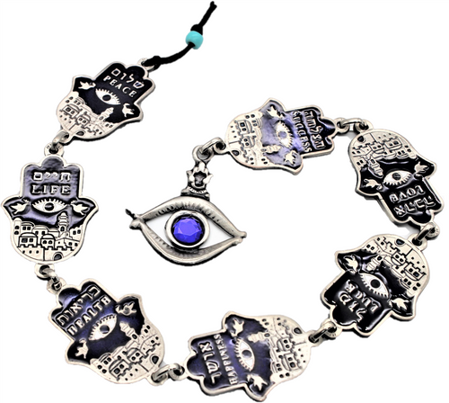 7 Blessings Hamsa JERUSALEM Lucky EVIL EYE Protection Judaica Wall Hanging