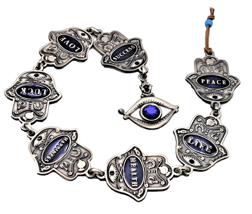 7 Home Blessings JERUSALEM HAMSA Lucky Silver plated Judaica Wall Hanging Gift