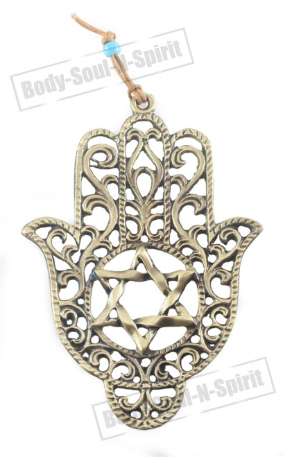 LUCKY HAMSA Gold Tone Wall Hanging Jewish Star of David Israel Kabbalah Judaica