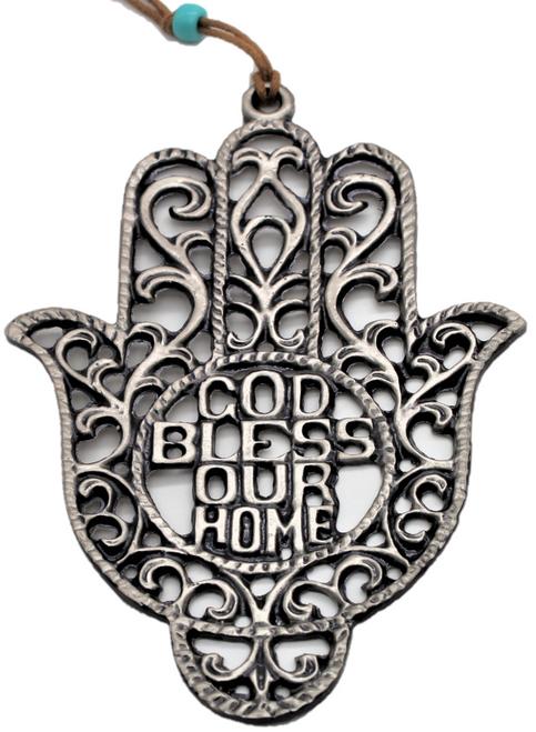 God Bless Home Hamsa hand Silver plated Soul holy souvenir Judaica Wall decor