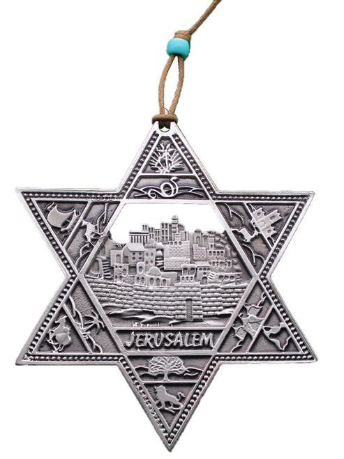 JERUSALEM STAR OF DAVID Lucky Hamsa Pewter plated Judaica Wall Hanging soul Gift