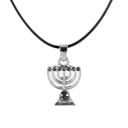 Black Jewish MENORAH Hanukkah lamp Necklace Israel Kabbalah Judaica Jewelry gift