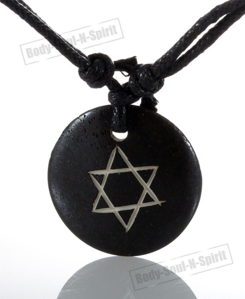 Black Star of David Necklace Stylish Ring Hoop Circle Pendant Fashion Jewelry