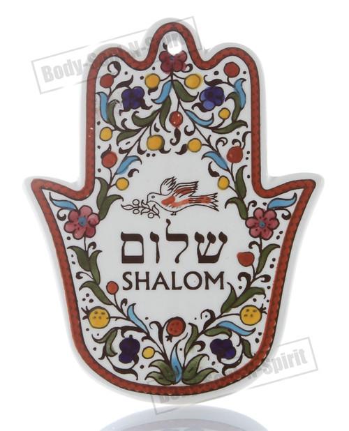 SHALOM Wall hanging Decor Hamsa Ceramics Against Evil eye Kaballah charm