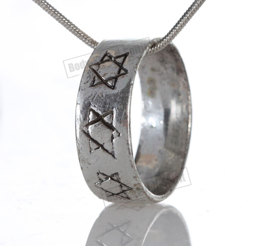 Star of David Stylish Ring Hoop Circle Pendant Silver Necklace Fashion Jewelry