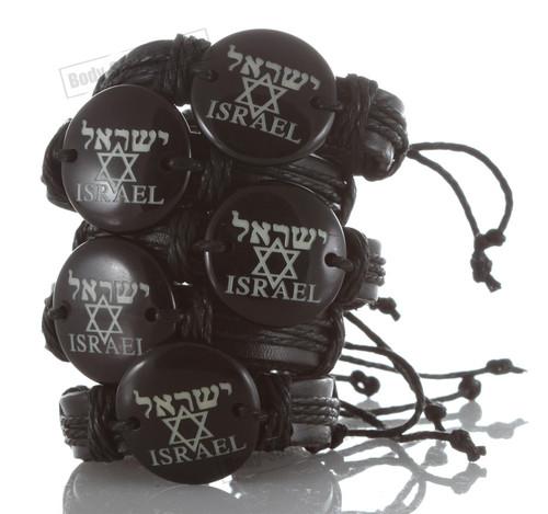 Black  Israel Star of David Leather Bracelet Jewish Cuff Bangle Wristband gift