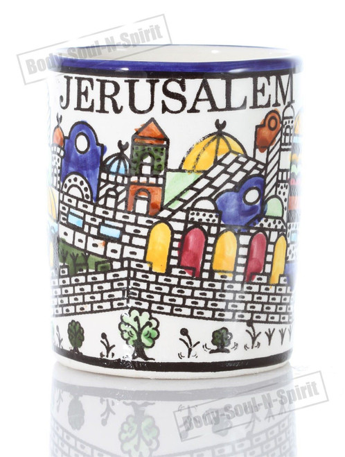 Ceramic Coffee Mug Jerusalem Holy Land Judaica Kabbalah Jewelry Gift Armanian